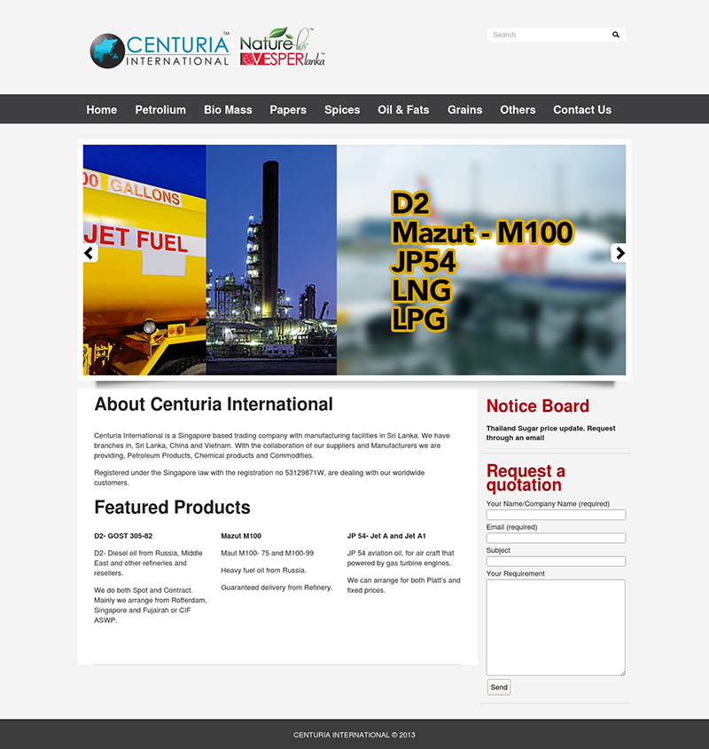 Centuria International's Corporate Website